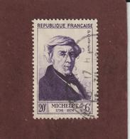 949 De 1953 - Oblitéré - Jules MICHELET - Série : Célèbrités Du  XIIème Au XXème  Siècle - 2 Scannes - France