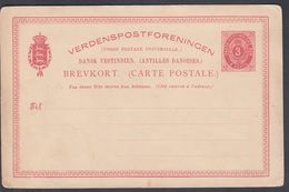 1887-1891. Bi-coloured Type. 3 CENTS Red BREVKORT. 5 Text Lines. Fold. (Michel FACIT BK 5) - JF321570 - Danimarca (Antille)