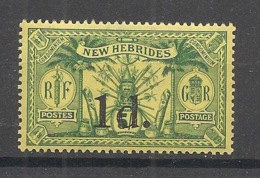 Nouvelles Hébrides - 1920 - N°Yv. 67 - 1d Sur 5s Vert-jaune - Neuf Luxe ** / MNH / Postfrisch - Légende Française