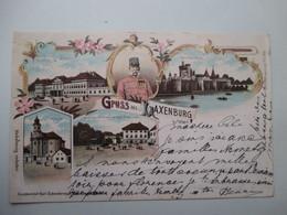 LAXENBURG   (      GRUSS  AUS  .....)         Pte.  FENTE   HAUT  G.   TIMBRES  ENLEVES - Laxenburg