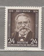 GERMANY DDR 1954 Writer F.Reuter Mi 430 Sc 212 MNH Postfrisch Neuf (**) #16047 - Neufs