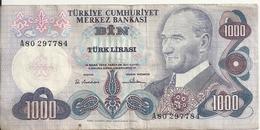 TURQUIE 1000 LIRA L.1970 VF P 191 - Turquia