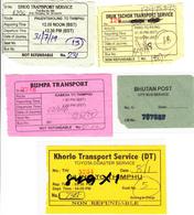 BHUTAN 5x Bus Tickets (used) Phuentsholing And Kabesa To Thimphu And Paro; Thimphu City Bus BHOUTAN - Bus