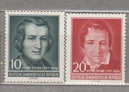 GERMANY DDR 1956 Poet H.Heine Mi 516-517 Sc 284-285 MNH Postfrisch Neuf (**) #16067 - Neufs