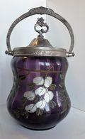 BOITE / POT à BISCUITS En Verre Bullé Violet, à Décor De GLYCINE BLANCHE, Couvercle Métal - Fin XIXe - Boîtes/Coffrets