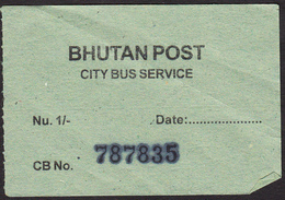 BHUTAN 1x Bus Ticket Of Nu. 1.- Around 2008 Of The City Bus Services (Thimphu), Managed By Bhutan Post - Bus