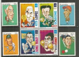 Caricatures De Grands Sportifs (W.Lindrum( English Billiard) H.Scarone (Football),V.Trumper(Cricket),N.Brookes (Tennis) - Timbres
