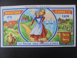 BUVARD - BISCUITERIE JEANNETTE, LA REINE DES MADELEINES - IFS Et CAEN - Vloeipapier