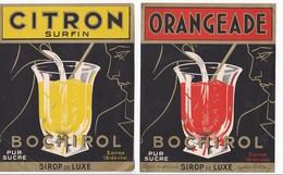 Lot De 3 Grandes étiquettes Anciennes Sirop ORANGEADE CITRON ORGEAT - BOCHIROL à Sarras Ardèche - Fruits Et Légumes