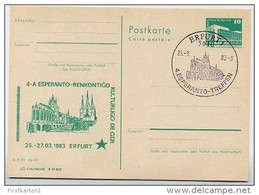 DOM ERFURT DDR P84-5-83 C17 Postkarte Zudruck ESPERANTO Sost. 1983 - Iglesias Y Catedrales