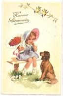 K 1272  OLD  FANTASY  POSTCARD   , CHILDREN , FINE ART ,GREETINGS , DOGS - Sin Clasificación
