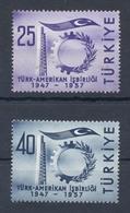 TURKEY * 1957 * Complete Set 2 Stamps * MNH** American Co-operation - Mi.No 1520-1521 - 1921-... République