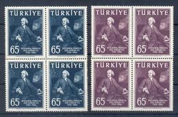 TURKEY * 1957 * Complete Set 2 Stamps In Blocks Of 4 * MNH** Benjamin Franklin - Mi.No 1534-1535 - 1921-... République