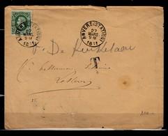 Brief Van Anvers (Station) Naar Lokeren Met Taksstempel - 1869-1883 Léopold II