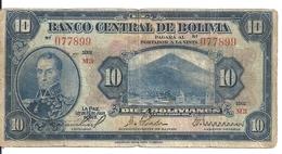 BOLIVIE 10 BOLIVIANOS L.1928 VF P 121 - Bolivie
