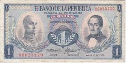 BILLETE DE COLOMBIA DE 1 PESO DE ORO DEL AÑO 1970  (BANK NOTE) - Colombia