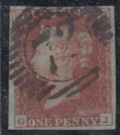 GRAN BRETAGNA    1845   1p RED  VFU BLUED PAPER CANCELLED 72 LONDON - Usati