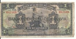 BOLIVIE 1 BOLIVIANO ND1929 VF P 112 - Bolivie