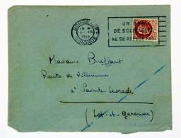 Lettre Juillet 1944 Bordeaux --> Ste-Livrade, Affr. 1f 50 Type Pétain, OMEC Flier Un Bon De Solidarité Ne Se Refuse Pas - France