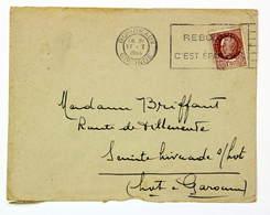 "Lettre Janv. 1944 Bordeaux --> Ste-Livrade, Affr. 1f 50 Type Pétain, OMEC Flier "" Reboisser C'est épargner "" - France"