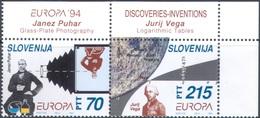 M4279 ✅ Science Mathematics Astronomy Photographing 1994 Slovenia 2v Set MNH ** 7,5ME - Astronomy