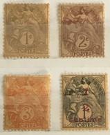 YT 107 108 109 157 (*) MH 1900 Type Blanc Papier GC Grande Consommation (côte 5) – 3bleu - 1900-29 Blanc