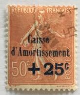 YT 250 (°) Obl Semeuse Caisse D'amortissement 1927, +25c Sur 50 C [rouge-brun] (côte 30 Euros) – 3bleu - Gebraucht