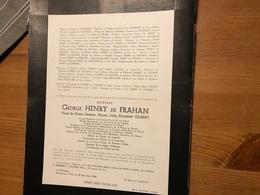 George Henry De Frahan Veuf Gilbert Jeanne Bourgmestre Lisogne Conseil Prov. Namur*1866 Dinant +1940 Moulins Warnant Yvo - Todesanzeige