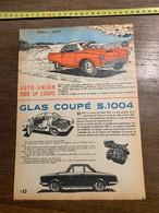 PUB PUBLICITE AUTO UNION 1000 SP COUPE GLAS S1004 - Vieux Papiers