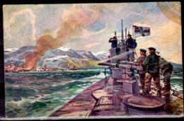 1917 World War I Feldpost Submarine U Boot Spende 1917 POstcard AK Gelaufen Vom Helgoland To Lechfeld - Sous-marins