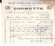 Eaux Minérales Naturelles. Source Du Pavillon. Chomette.Châteauneuf Les Bains. à Georges Duméry Evaux Les Bains. 1924. - France