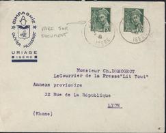 YT 414 B X2 Mercure 50ct Rare Sur Lettre CAD Uriage 3 12 1941 Enveloppe Compagnie Olivier Hussenot - France