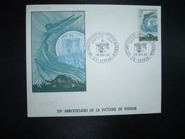 LETTRE TP 50e ANNIVERSAIRE DE LA VICTOIRE DE VERDUN 0,30+0,05 OBL.28 MAI 66 55 VERDUN PREMIER JOUR - Guerre Mondiale (Première)