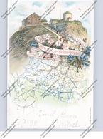 NIEDER - SCHLESIEN - SCHNEEKOPPE / SLESZKA, Lithographie 1899, Schneekoppe Und Landkarte - Schlesien