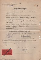 Sarreguemines - Timbres Fiscaux Locaux Sur Certifiact D Aptitude - Bureau D Enregistrement - 1943 - Rare - Marcophilie (Lettres)