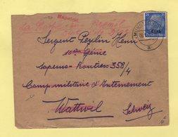 Griffe Rapatrie Sur Lettre De Munster Pour Le Camp D Internement De Wattwil - 1941 - Storia Postale