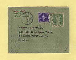 Inde - Aerogramme Taxe Destination France - 1962 - India