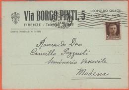 Regno D'Italia - 1943 - 30c - Leopoldo Quafli - Arredi Sacri, Ricami - Viaggiata Da Firenze Per Modena - Storia Postale