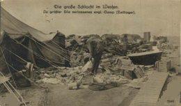 IN GRÖßTER EILE VERLASSENES ENG CAMP ZELTLAGER DIE GROSSE SCHLACHT IM WESTEN     WWI WWICOLLECTION - Guerre 1914-18