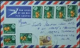 Rhodesia - Multifranking Cover To England 1968 Fruit Orange Fauna - Rhodesia (1964-1980)