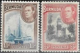 Bermuda  1938   Sc#119 1 1/2d MLH & #121  3d  Lighthouse  MH   2016 Scott Value $20.75 - Bermuda