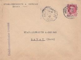 PETAIN 1F50 ROSE SUR LETTRE ETS A.DEROME BAVAY NORD CAD AVESNES SUR HELPE + GRIFFE KREISKOMMANDANTUR AVESNES - Marcophilie (Lettres)