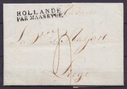 """L. Datée 4 Septembre 1804 De ROTTERDAM Pour LIEGE - Griffe """"HOLLANDE / PAR MAASEYCK"""" - Port """"4"""" - 1794-1814 (Période Française)"""