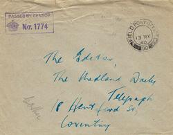 13 May 1940- Enveloppe En Franchise  F P O  N°90 Censure N°1774 ( Soldat Anglais En France ) - Marcophilie (Lettres)