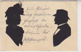 Ein Paar Als Scherenschnitt - 1902 Aus Düsseldorf Nach Neubrandenburg - Scherenschnitt - Silhouette