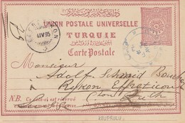 Türkei: 1895: Ganzsache Nach Zürich - Turkey