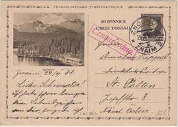 Tschechien - 1,20 K. Masaryk Bildganzsache Znaim - St. Pölten 1938 Zensurstempel - Ohne Zuordnung