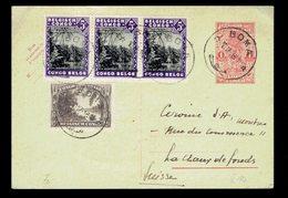CP Stibbe 70 ( 1 Fr ) + 168 +  197 ( Bande De 3 )  Boma 10 12 38  => Lachaux De Fonds ( Suisse ) - Entiers Postaux