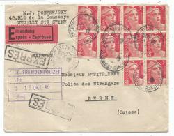 GANDON 3FRX10 LETTRE EXPRES COURBEVOIE 14.10.1946 POUR SUISSE  AU TARIF - 1945-54 Marianne De Gandon