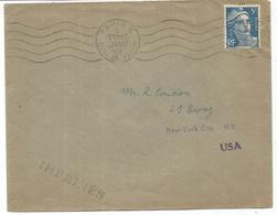 GANDON 5FR BLEU SEUL LETTRE PARIS X 5 JANV 1949 POUR USA  AU TARIF - 1945-54 Marianne De Gandon